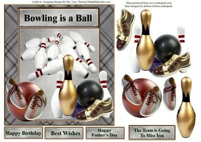 Bowling is a Ball Card Topper Decoupage on Craftsuprint designed by Barbara Hiebert - This is a bowling themed card Topper.The sentiment tags say.Happy BirthdayBest WishesHappy Father's DayThe Team is GoingTo Miss You - Now available for download!