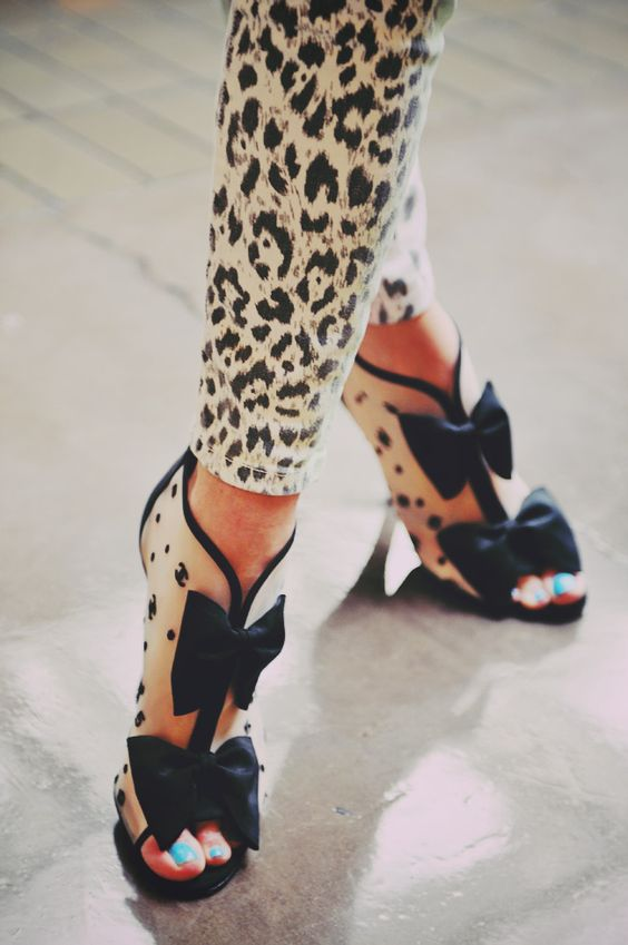 chanel bow booties + animal print mini pants. fun