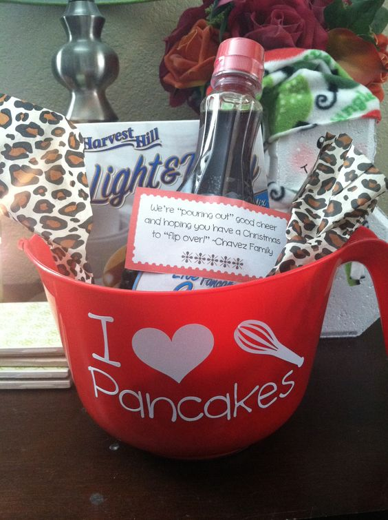 Wedding Gift Ideas For Neighbors : Pancake gift basket for neighbors - dollar tree bowl, mix, syrup ...