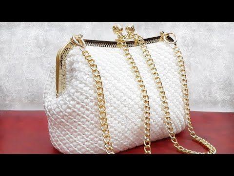 شنطة كروشيه أنيقة بالتفصيل إطار معدن ذهبى خيط القيطان Elegant Crochet Bag With Golden Metal Frame Youtube Crochet Bag Crochet Knitting Patterns