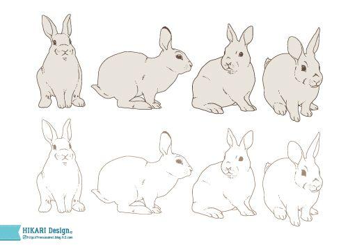 うさぎ イラスト素材 線画 手描き ウサギ Ai Eps Png うさぎイラスト うさぎ イラスト