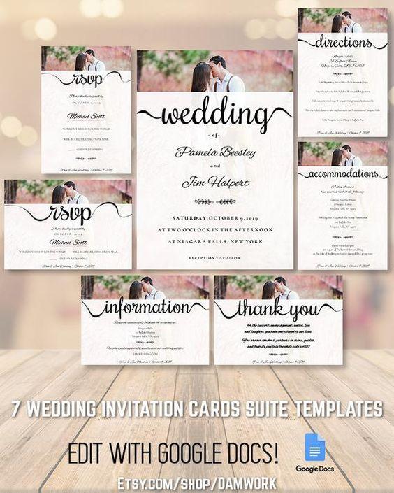 Wedding Invitation Cards Template Set Suite Package 5x7 3 5x5 Etsy Wedding Invitation Cards Wedding Invitation Card Template Invitation Cards