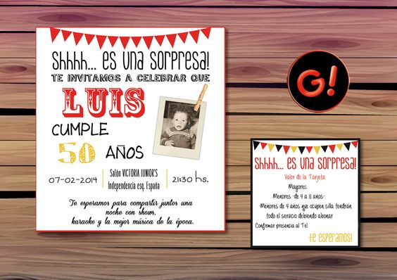 Diseño de Tarjeta de invitacion para CUMPLEA u00d1OS CUMPLEA u00d1OS SORPRESA DE 50 A u00d1OS ORGANIZACION
