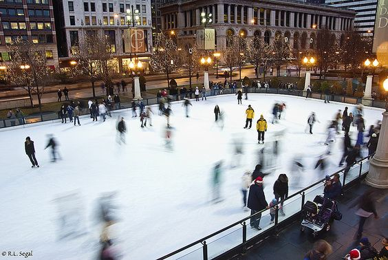 Ice Skating on Michigan Ave.