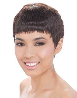 Short Human Hair by Shanghai Collection. Tangle Free! Features a trendy Asian bang and cutting edge styling.