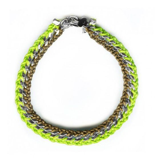 The Curb Chain 2 Rows with clasp fluorescent green - via @Boticca