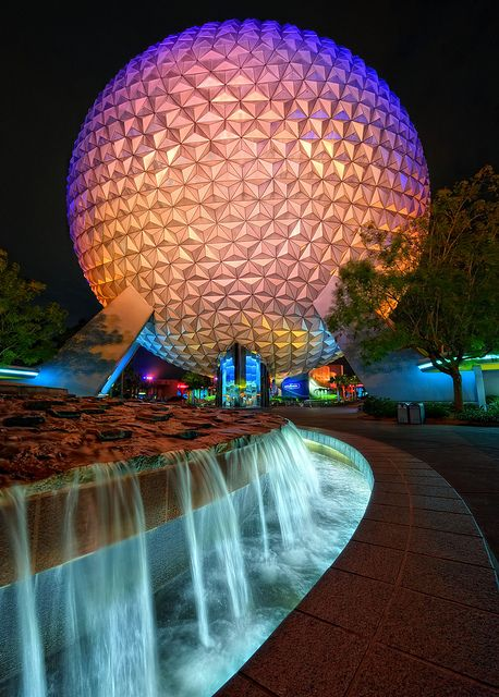 EPCOT Spaceship Earth Fountain at Night by Express Monorail