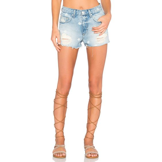 Lovers + Friends Jack High-Rise Short ($140) ❤ liked on Polyvore featuring shorts, jean shorts, ripped jean shorts, high waisted shorts, distressed high waisted shorts and destroyed denim shorts