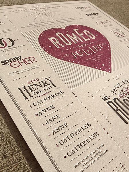 Typographic matchmaking example. Nicely pressed too.