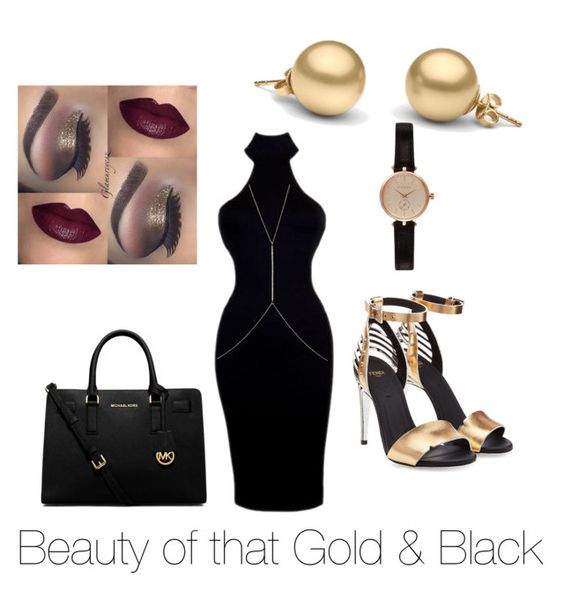 """That Black & Gold Beauty."" by xforeignsinner ❤ liked on Polyvore featuring beauty, Fendi, MICHAEL Michael Kors, Ileana Makri and Barbour"