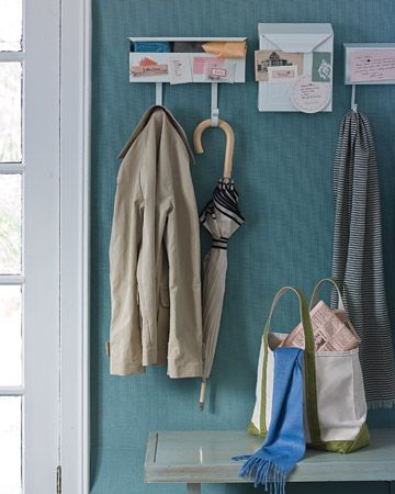 Magnetic Hall Organizer  ... Love the idea of using mailboxes for coat hooks. Great spot for keys/sunglasses/mittens/etc