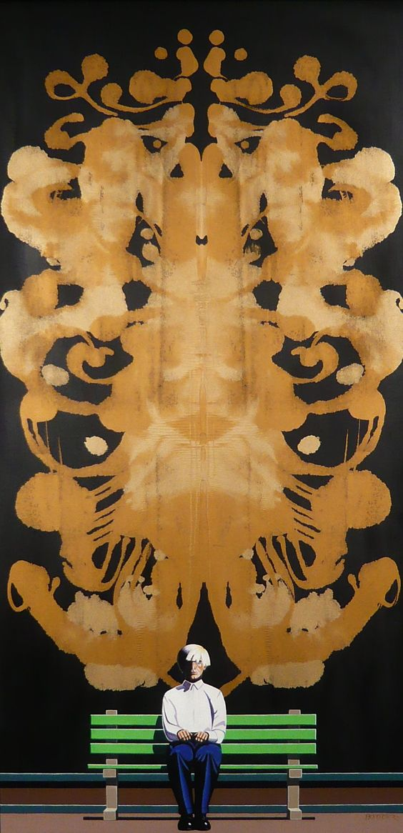 Fritz Böttger; 'Andy and Rorschach - Black Background / Gold Color Shift Pattern', 1967.