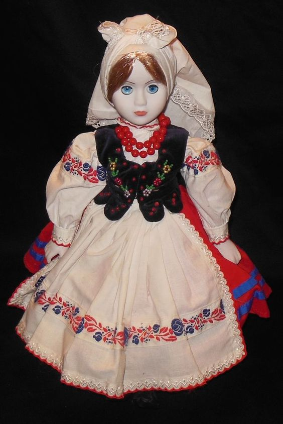 "Polish Krakow Porcelain Doll 15"" Traditional Dress Artist Signed Handmade Poland #Dolls"