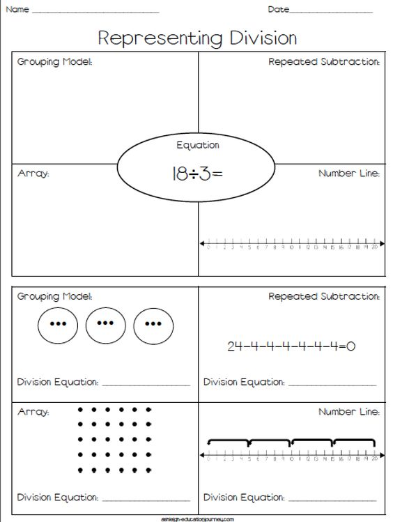 Representing DivisionFREE Worksheet where students represent – Division Array Worksheets