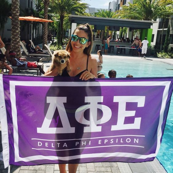 DPhiE Flag | Delta Phi Epsilon | Sorority Recruitment | Bid Day Ideas | Bid Little Gifts