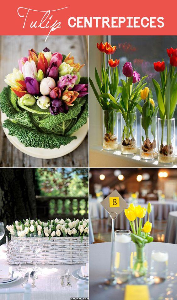 Spring wedding flowers tulips centrepiece ideas on