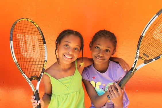 6-8 year old girls from Dwight at their tennis resource