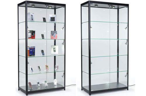6 Displays2go Floor Tempered Glass Curio Cabinet With 8 Halogen Lights Glass Curio Cabinets Glass Cabinets Display Glass Cabinet Doors