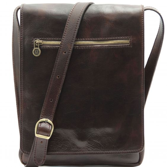 Dunkelbraune Leder Schultertasche für Herren.Die Innenseite - Innenfutter ist aus Baumwolle. Das Innere der Tasche hat einen Kammer und 1 Kompartiment für Tablet. -