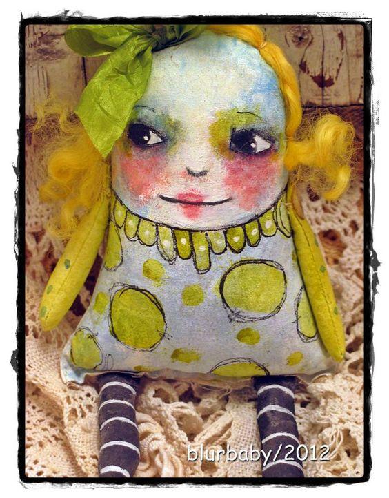 Art Doll , Folk Art Doll, OOAK Doll, Hand painted cloth doll. $34.95, via Etsy.