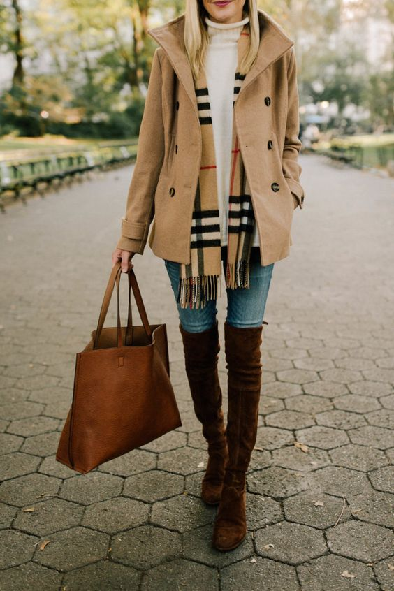 Camel peacoat, Burberry plaid scarf, white sweater, over the knee suede boots fall outfit