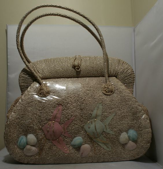 1930's Giant Sea Shell Beach Bag w Cellophane Covering 19 1/2 Inches Wide