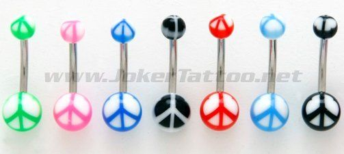 Which color are you?  Peace Sign UV Belly Button Ring