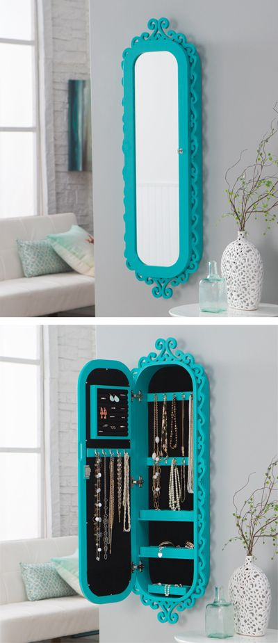 $229.98/ Everything Turquoise. Wall Scroll Locking Jewelry Armoire. I want this so much!: