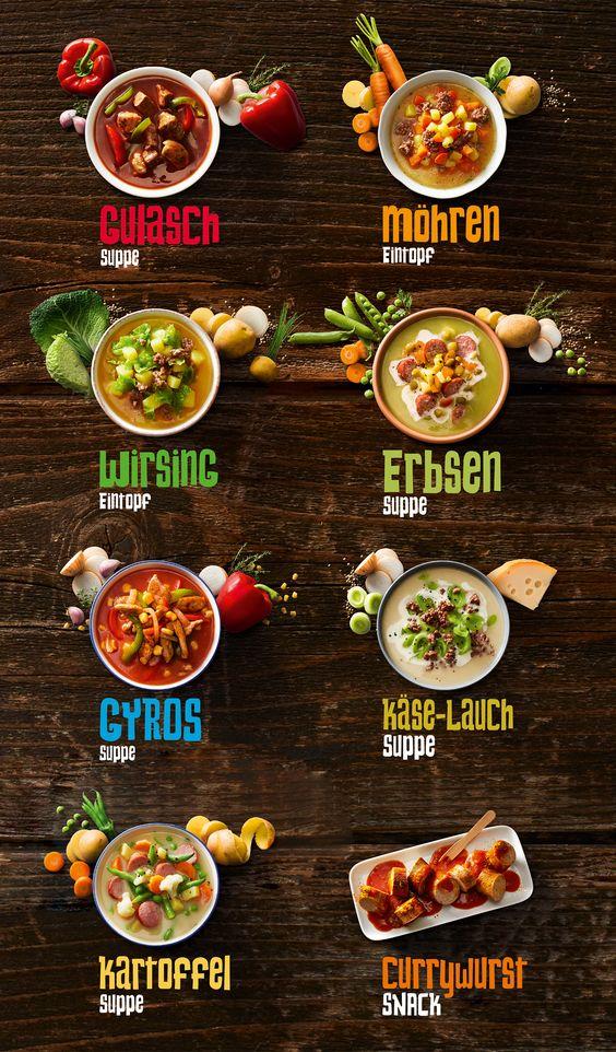 Brand Creation And Packaging Design For Schafermeier Germany Soups Food Menu Design Restaurant Menu Design Food Poster Design