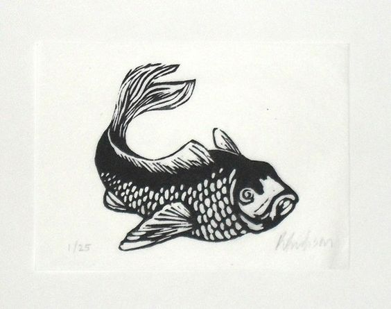 Fish linocut print rowanne anderson u k vissen