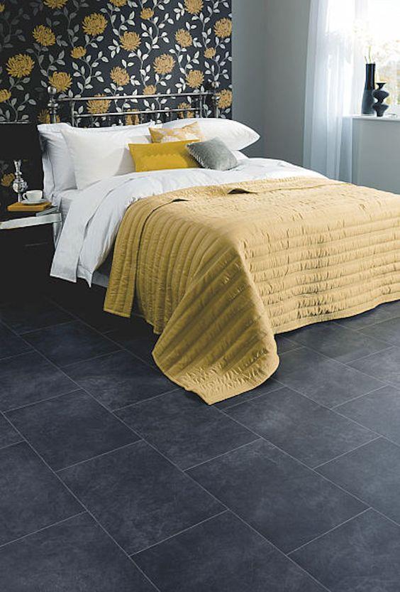 Bedroom featuring Secura PUR luxury vinyl sheet flooring in Black Slate