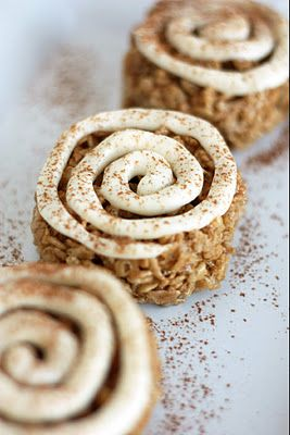 Cinnamon Roll Rice Krispie Treats - Cooking Classy  Supposedly taste like cinnamon rolls but lower in calories and faster