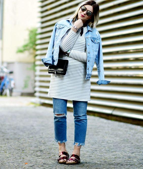 Outfit-jeansjacke-jeans-fransensaum-mango-streifenshirt-birkenstock-Modeblog-Streetstyle-fashionblog-Fashionzauber.com