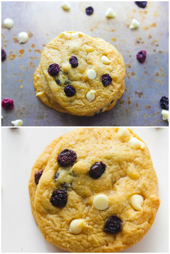 Addictive White Chocolate Chip cookies that use dried blueberries instead of fresh ones.
