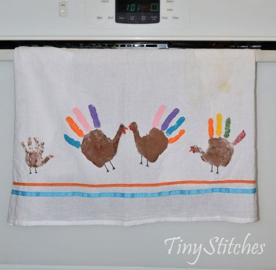 turkey handprint kitchen towel by glenna