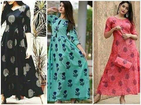 Latest Printed Cotton Long Kurtis Cotton Maxi Dress Designs Youtube Maxi Dress Maxi Dress Cotton Cotton Long Dress