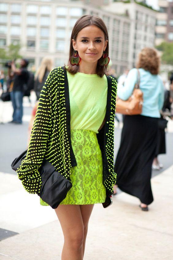 this is perfection: Neon Bright, Style Inspiration, Fashion Week, Street Style, Neon Green, Miroslava Duma, Neon Lace, Women
