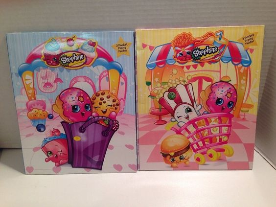 Shopkins 2 Pocket Prong Folder x 2 3 Hole Punched with Name Plate | eBay