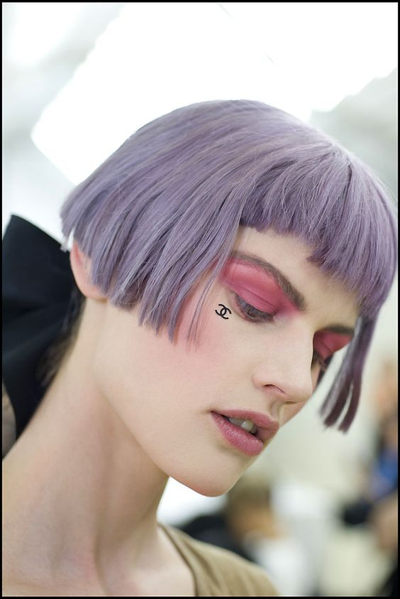 Chanel Cruise 2012-13 backstage makeup-pastel-purple-hair