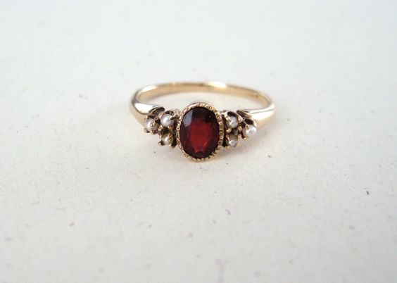 Antique Victorian Garnet and Seed Pearl 10k Yellow Gold Ring., via Etsy.