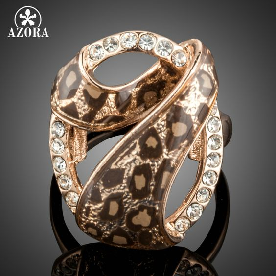 Individuality Rose Gold Plated 7 Design with Austrian Cystal Leopard Rings TR0163