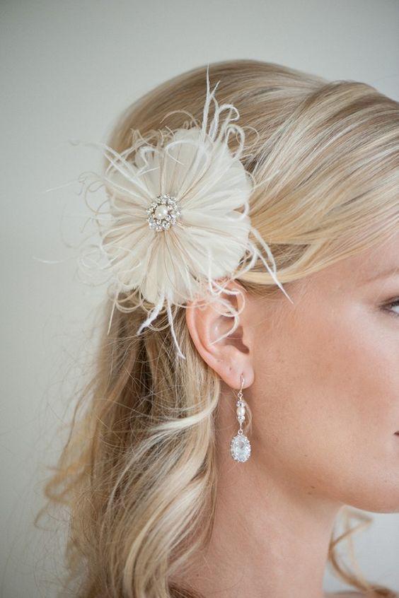 Feather Hair Clip Fascinator Bridal Head Piece by PowderBlueBijoux, $69.00