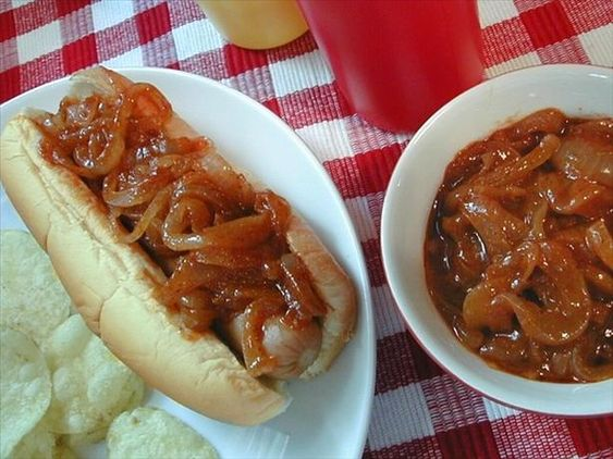 Hot Dog Onion Sauce from Food.com: If you like the red onion sauce served on the hot dogs you get from the road side carts, you'll enjoy this easy to prepare sauce.
