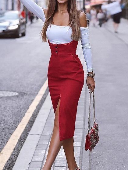 Red Cotton Shoulder Strap Split Front Women Bodycon Dress – Chicfulife