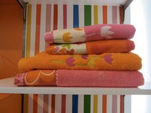 Most playful were tiles, towels, bedding and even clothes from Agatha Ruiz de Prada, with lots of emphasis on the pink-orange and rainbow juxtapositions.