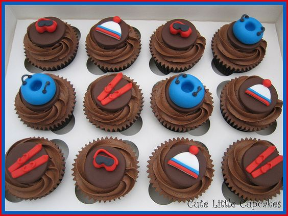 ski themed party images | skiing cupcakes chocolate cupcakes with a tubing ski theme for a party ...