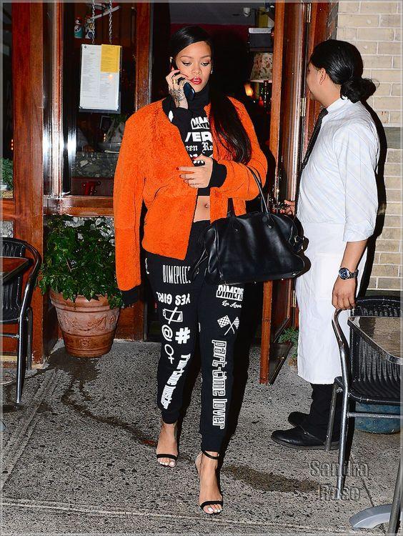Rihanna looks stylish as she talks on her flip phone in NYC