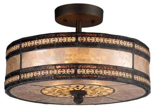 ELK Lighting 70065-2 Mica Filigree 2-Light Semi-Flush - 14W in. Tiffany Bronze - Semi Flush Mount Lights at Hayneedle