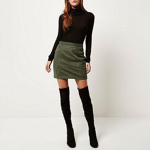 Khaki faux-suede A-line skirt - a line skirts - skirts - women