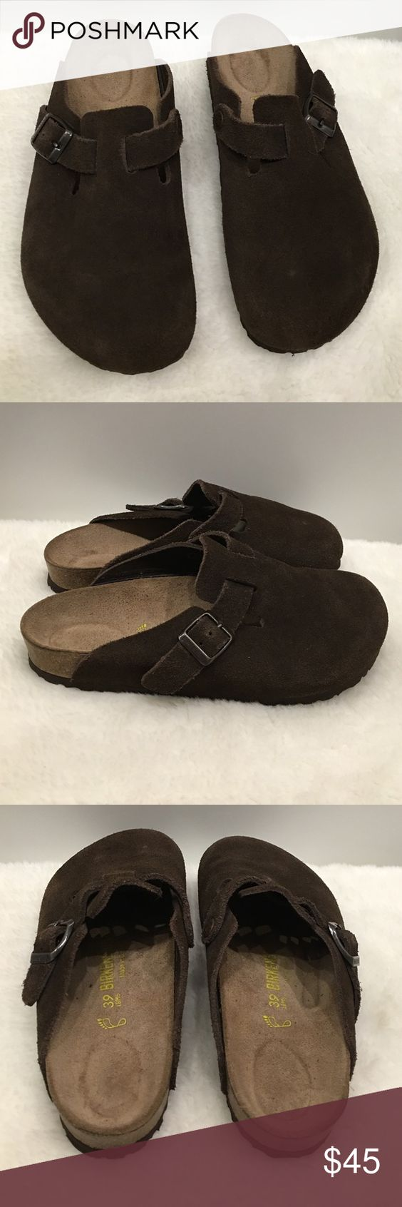 birkenstock boston brown suede loafers